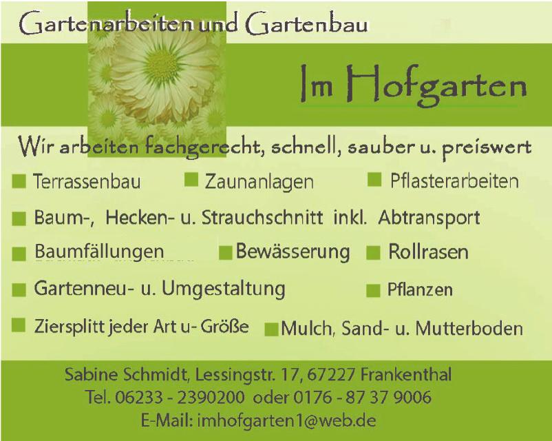 Gartenarbeiten und Gartenbau im Hofgarten