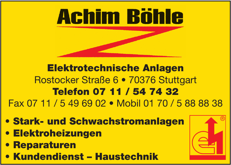 Achim Böhle Elektrotechnische Anlagen