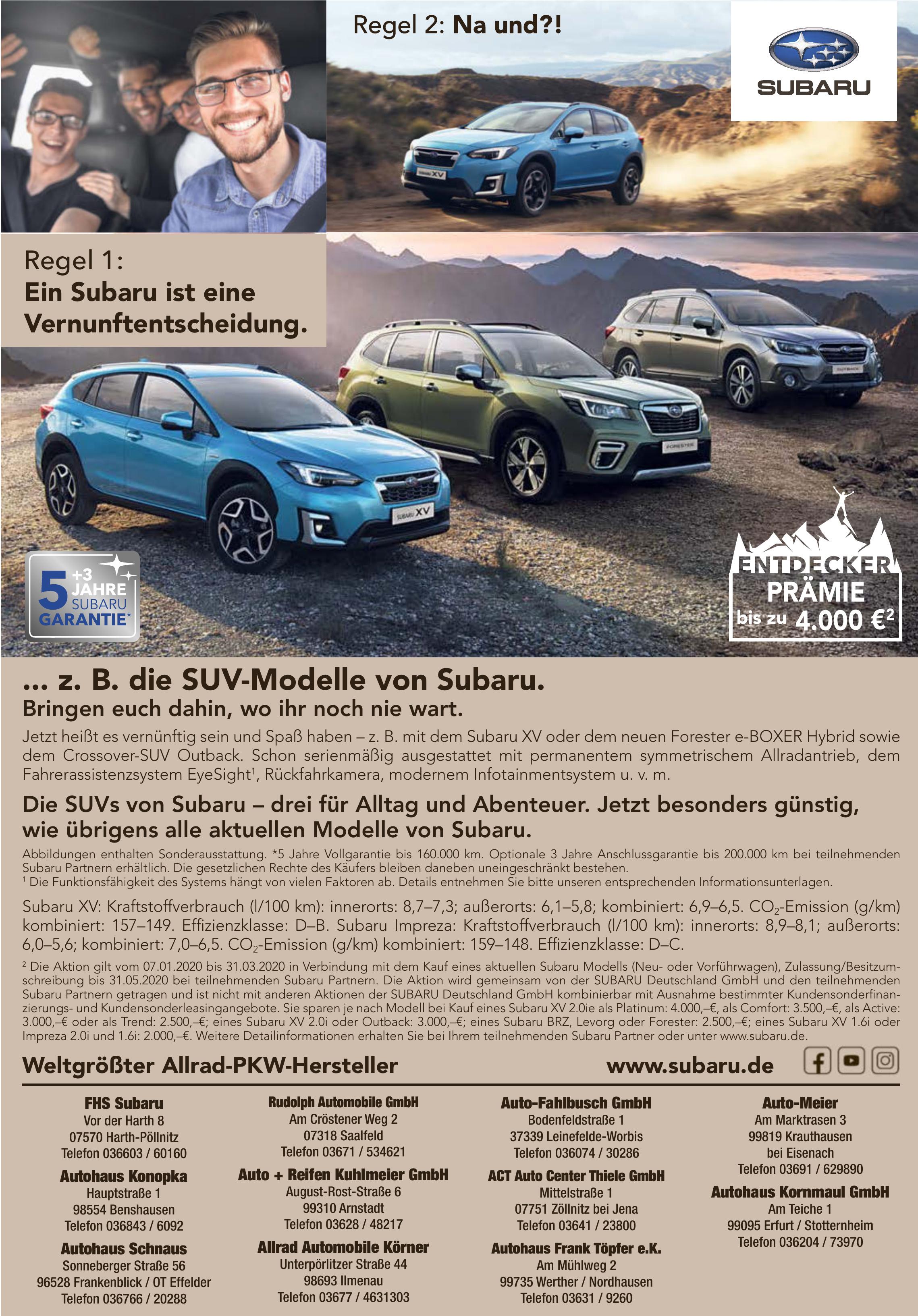 <br><b> FHS Subaru</b> <p></p> Vor der Harth 8  <p></p> 07570 Harth-Pöllnitz <p></p> Telefon 036603 / 60160 <p></p><a href='https://www.subaru.de'> www.subaru.de</a> </p> <hr> <br><b> Autohaus Konopka</b> <p></p> Hauptstraße 1 <p></p> 98554 Benshausen <p></p> Telefon 036843 / 6092 </p>  <hr> <br><b> Autohaus Schnaus</b> <p></p> Sonneberger Straße 56  <p></p> 96528 Frankenblick / OT Effelder  <p></p> Telefon 036766 / 20288 </p> <hr> <br><b> Rudolph Automobile GmbH</b> <p></p> Am Cröstener Weg 2 <p></p> 07318 Saalfeld <p></p> Telefon 03671 / 534621 </p> <hr> <br><b> Auto + Reifen Kuhlmeier GmbH</b> <p></p> August-Rost-Straße 6 <p></p> 99310 Arnstadt <p></p> Telefon 03628 / 48217 </p> <hr> <br><b> Allrad Automobile Körner</b> <p></p> Unterpörlitzer Straße 44 <p></p> 98693 Ilmenau <p></p> Telefon 03677 / 4631303 </p> <hr> <br><b> Auto-Fahlbusch GmbH</b> <p></p> Bodenfeldstraße 1 <p></p> 37339 Leinefelde-Worbis <p></p> Telefon 036074 / 30286 </p>  <hr> <br><b> ACT Auto Center Thiele GmbH</b> <p></p> Mittelstraße 1 <p></p> 07751 Zöllnitz bei Jena <p></p> Telefon 03641 / 23800 </p> <hr> <br><b> Autohaus Frank Töpfer e.K.</b> <p></p> Am Mühlweg 2 <p></p> 99735 Werther / Nordhausen  <p></p> Telefon 03631 / 9260 </p> <hr> <br><b> Auto-Meier</b> <p></p> Am Marktrasen 3  <p></p> 99819 Krauthausen bei Eisenach <p></p> Telefon 03691 / 629890 </p> <hr> <br><b> Autohaus Kornmaul GmbH</b> <p></p> Am Teiche 1 <p></p> 99095 Erfurt / Stotternheim <p></p> Telefon 036204 / 73970 </p>