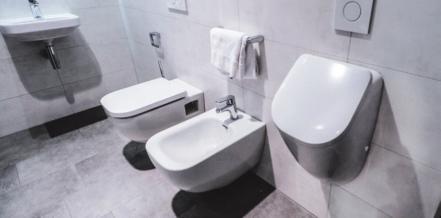 Moderner Dreiklang (v.l.): Sitz-WC, Bidet und Pissoir.