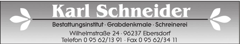 Karl Schneider Bestattungsinstitut · Grabdenkmale · Schreinerei
