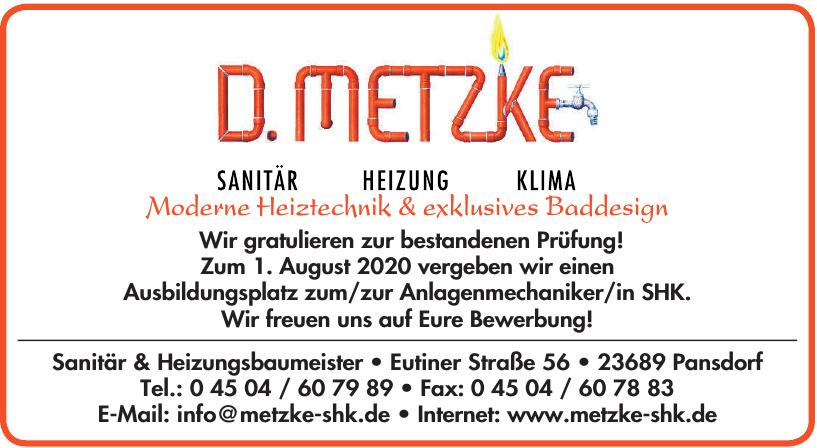 D. Metzke Sanitär & Heizungsbaumeister
