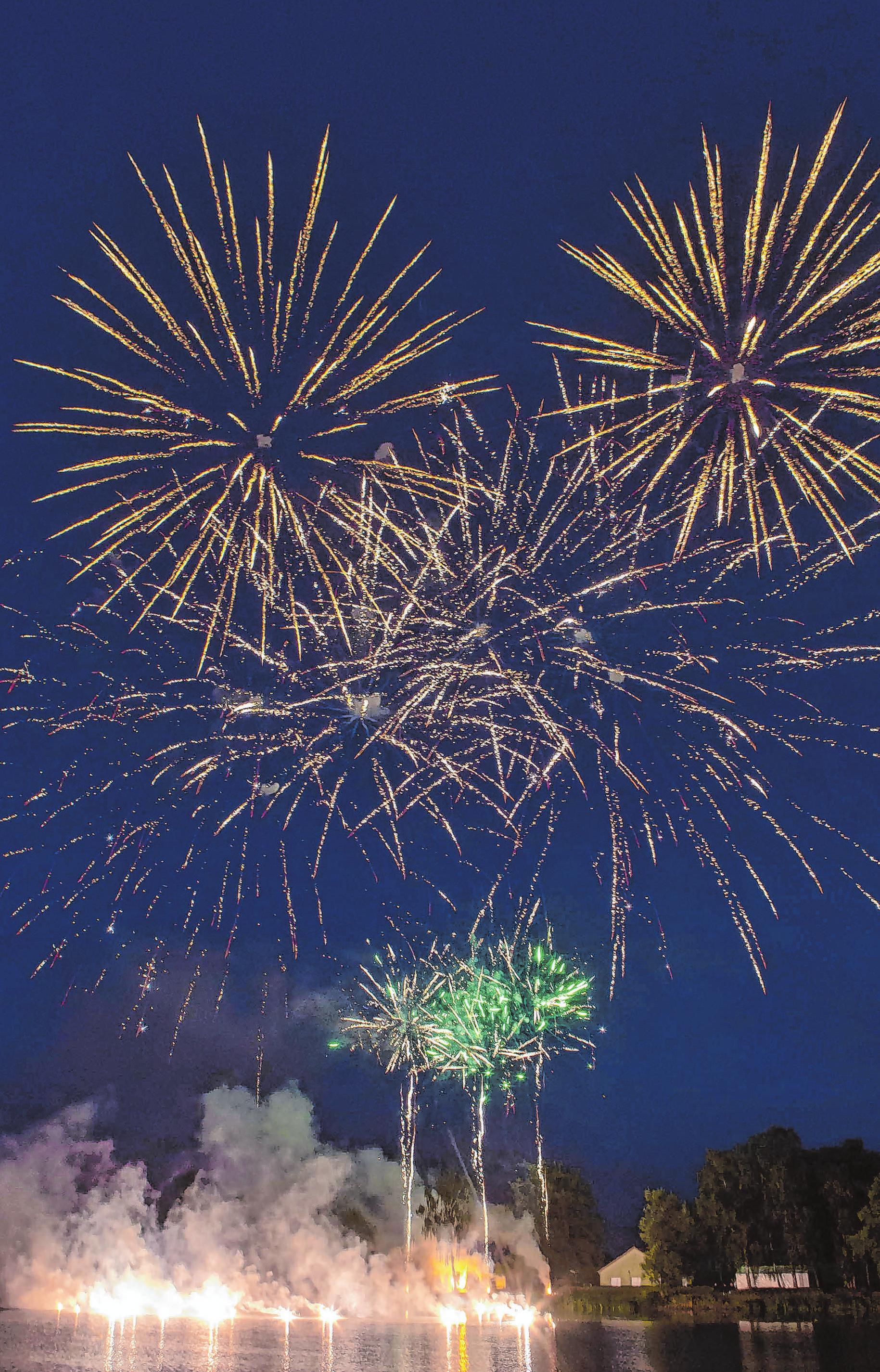 Auch von weither bestaunt: das Feuerwerk am Kanal