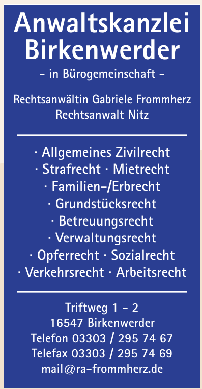 Rechtsanwältin Gabriele Frommherz u. Rechtsanwalt Nitz