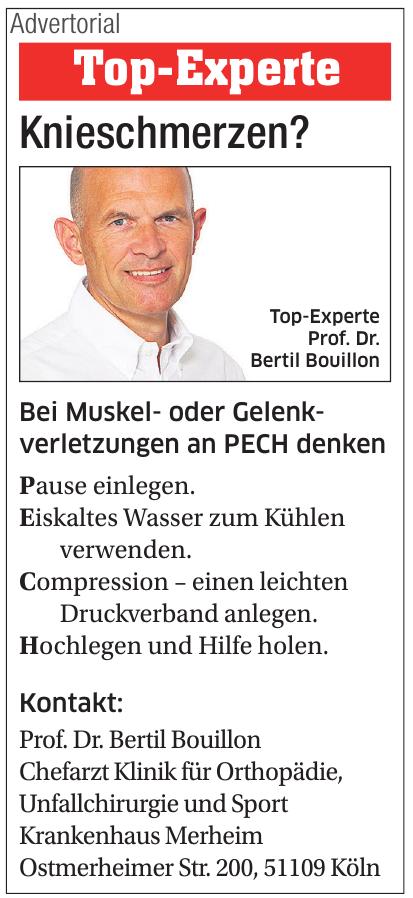 Krankenhaus Merheim - Prof. Dr. Bertil Bouillon - Chefarzt Klinik für Orthopädie