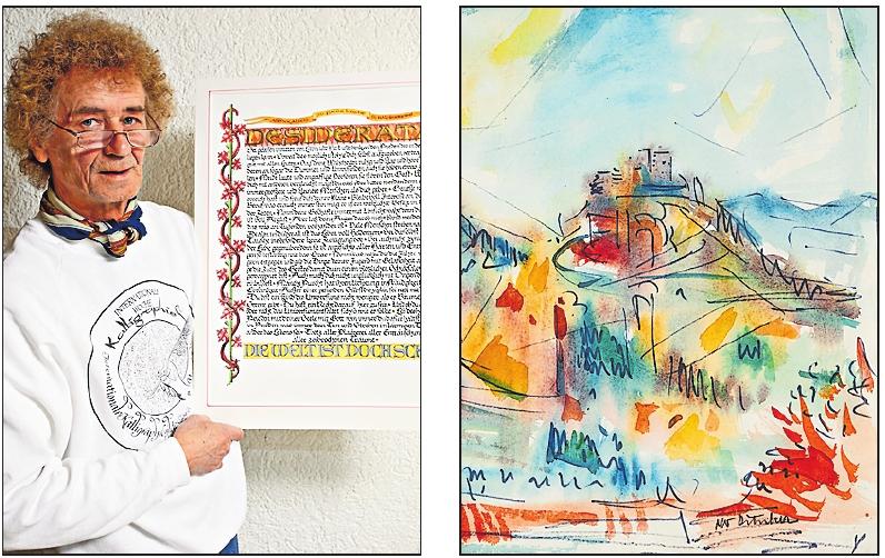 """Zum Jubiläum werden erstmals Werke des Kalligraphen Helmut Hirmer (links) und des Malers Otto Ditscher (""""Trifels II"""" von 1964) gemeinsam gezeigt. ARCHIVFOTOS: PFALZGALERIE/DUNKEL-HIRMER/FREI"""