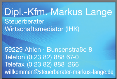 Dipl.-Kfm. Markus Lange Steuerberater