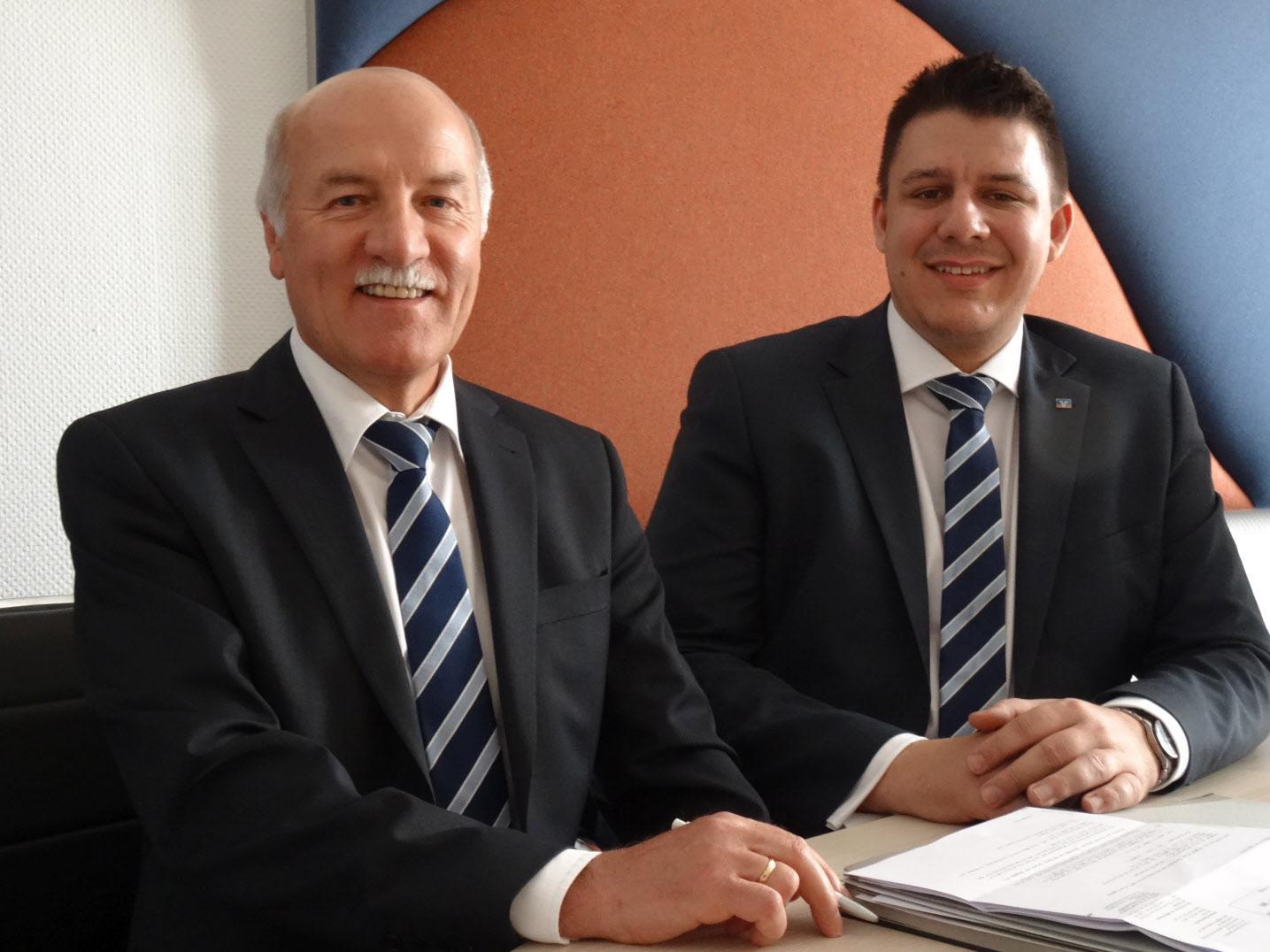 Leiten die Geschäfte der Bank: Vorstandsvorsitzender Johann Nun (l) und sein Vorstandskollege Sebastian Blaschke.