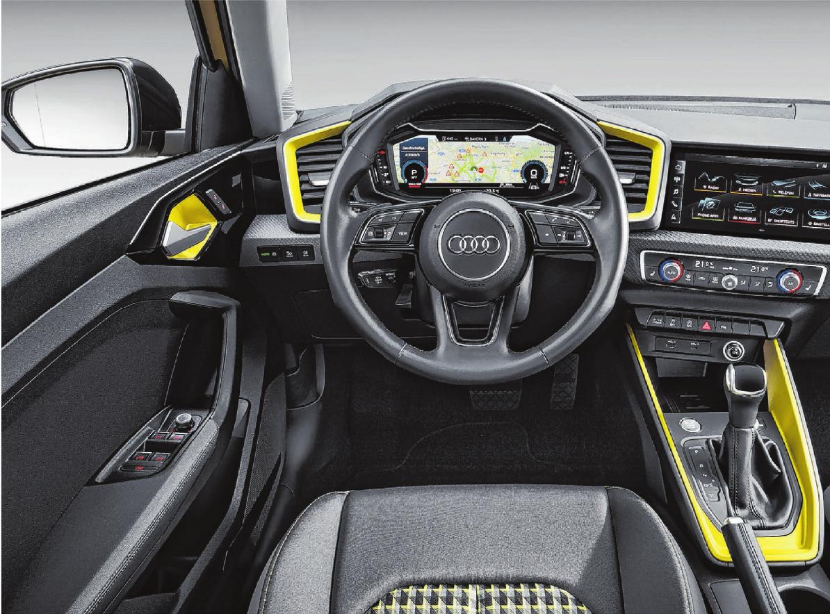 Kontrastfarben wie hier das Gelb möbeln auf Wunsch auch das Interieur des Audi A1 auf. Werksfotos