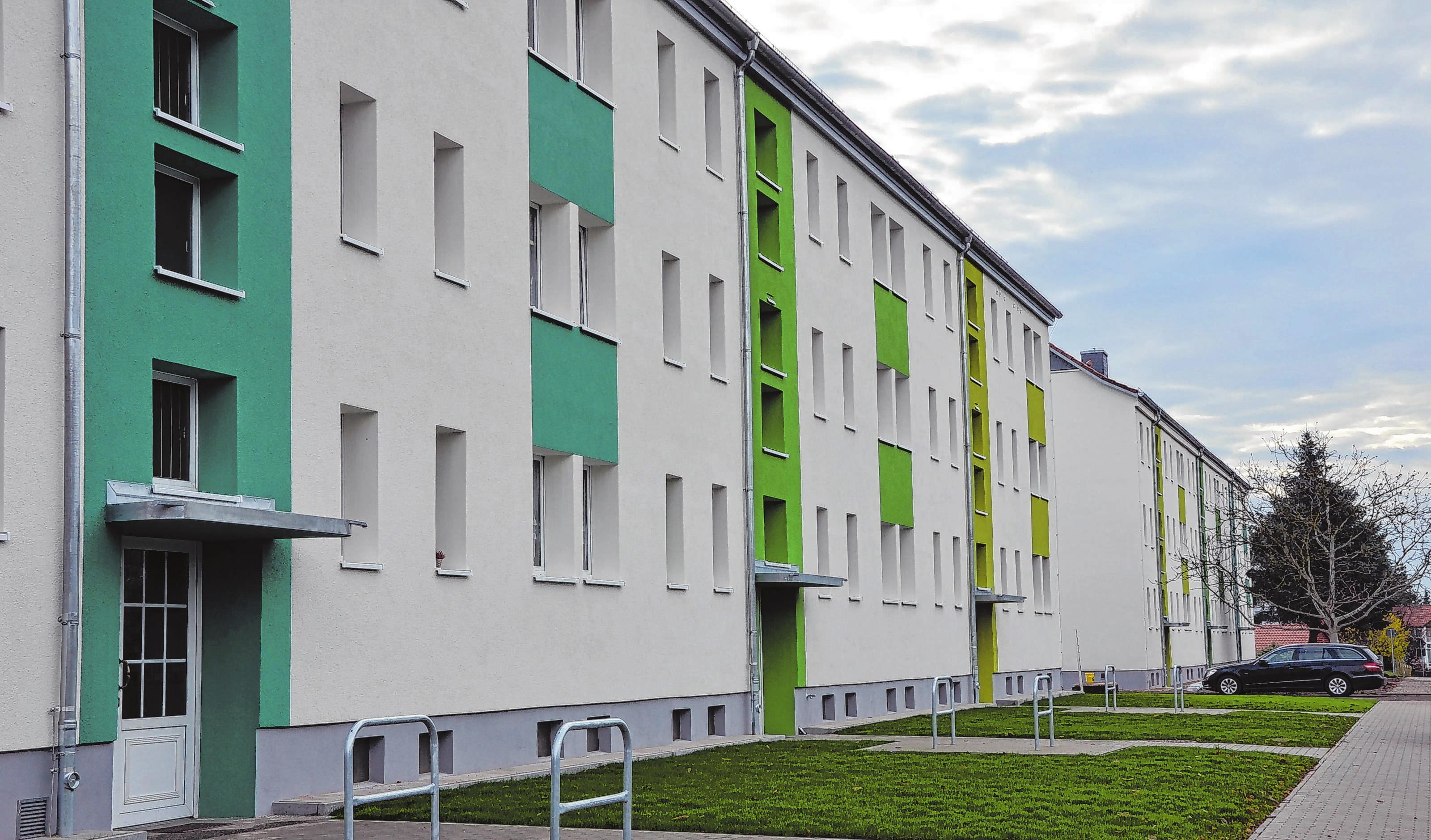 In ganz neuem Antlitz präsentieren sich jetzt die beiden Gebäude in der Buchholzerstraße 6-11 am Ortsausgang von Trebus.