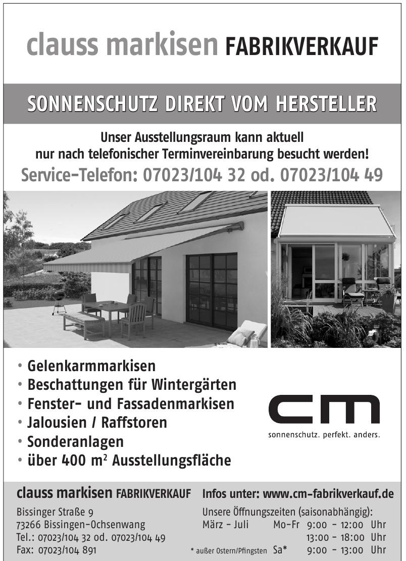 cm Claus Markisen Fabrikverkauf