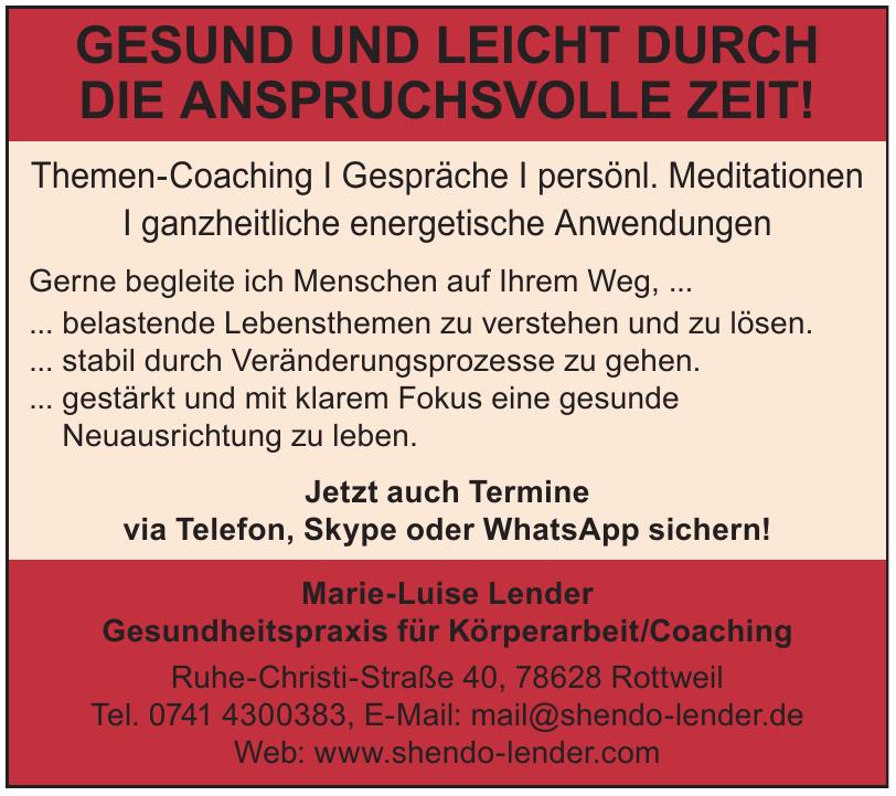 Marie-Luise Lender Gesundheitspraxis für Körperarbeit/Coaching