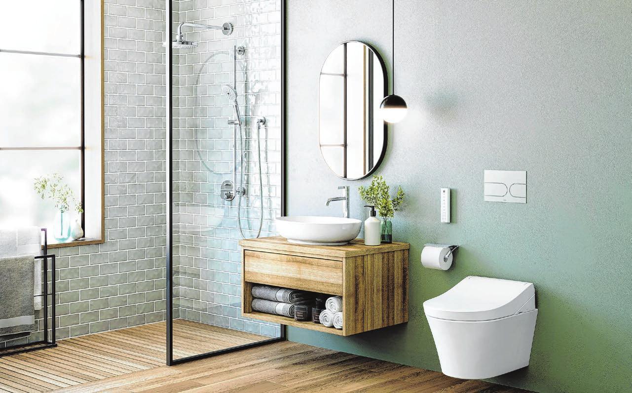 Trotz der neuen Farbigkeit im Badezimmer bleiben viele Keramiken weiß – zum Beispiel die Toilettenschüssel. Foto: dpa/Toto
