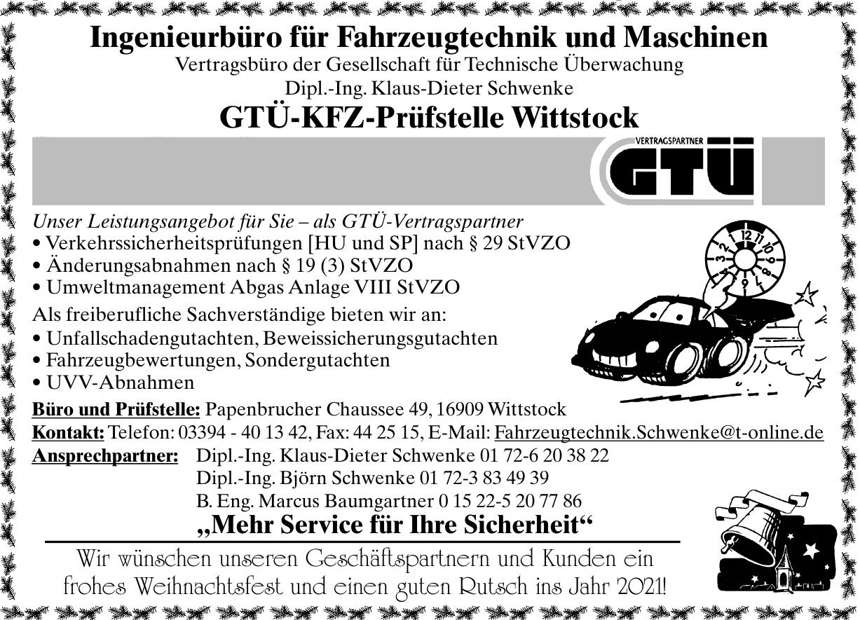 GTÜ-KFZ-Prüfstelle Wittstock