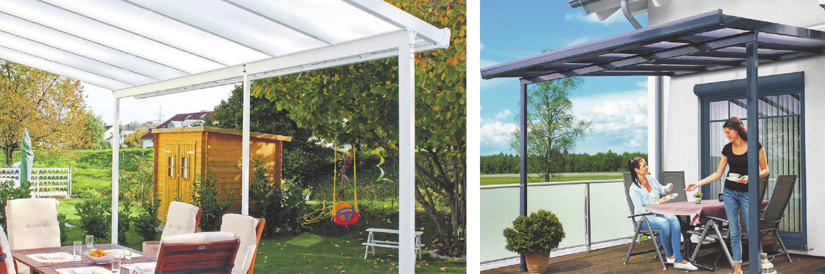 Gut geschützt lassen sich die warmen Tage auf der Terrasse gleich doppelt genießen. Fotos: epr/Gutta