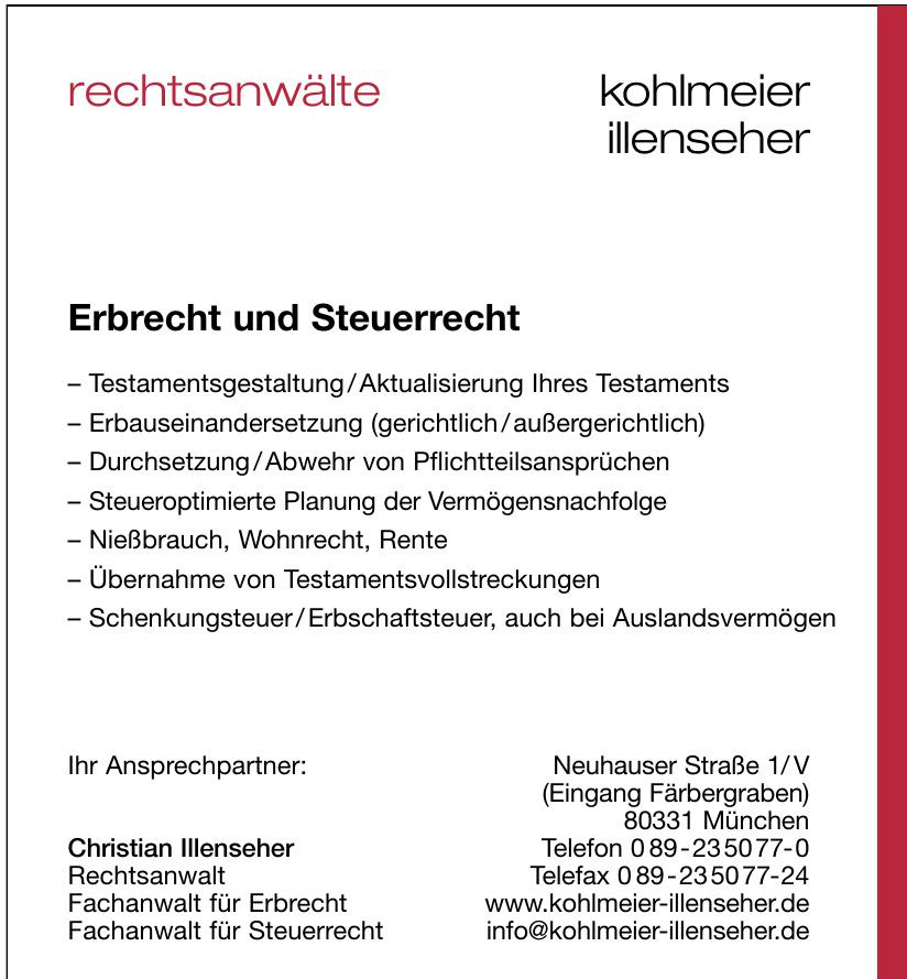 Rechtsanwälte Klaus Kohlmeier und Christian Illenseher