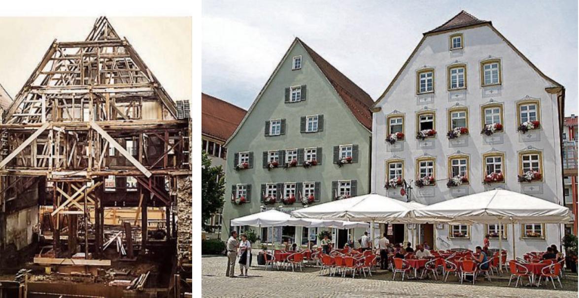 Mit verschiedenen Baumaßnahmen hat Georg Schanz das Rottenburger Stadtbild mit geprägt wie zum Beispiel mit der Generalsanierung des Gebäudes Marktplatz 24 (linkes Haus)
