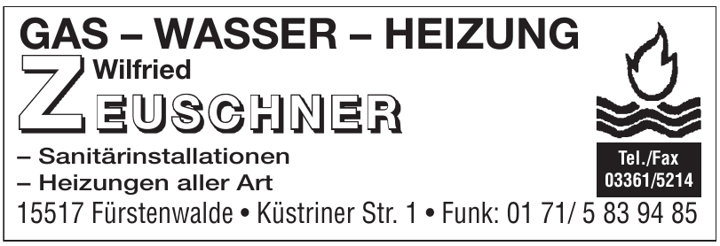 Wilfried Zeuschner Gas, Wasser, Heizung