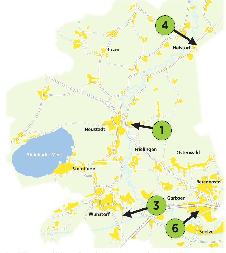 Autohäuser und Werkstätten im Nordwesten der Region Hannover.