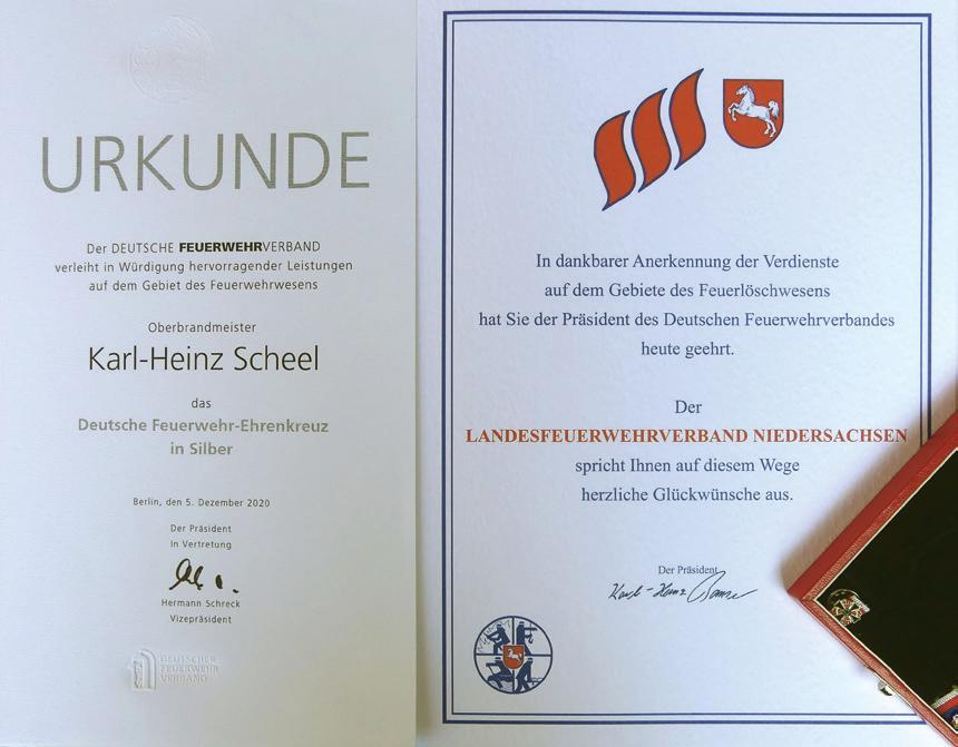 Mit dieser Urkunde würdigte der Deutsche Feuerwehrverband die hervorragenden Leistungen des Oberbrandmeisters Karl-Heinz Scheel. Foto: privat