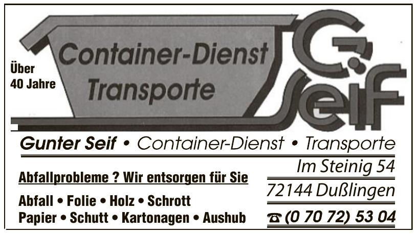 Gunter Seif - Container-Dienst, Transporte