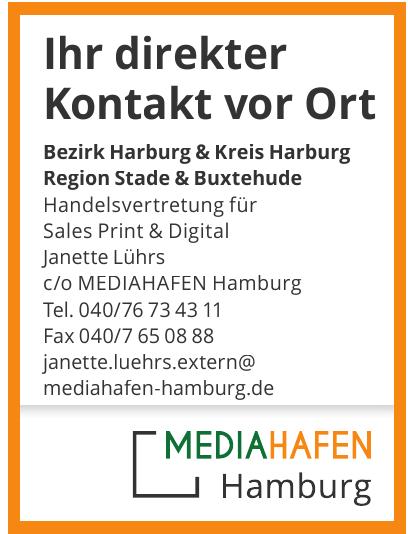 Handelsvertretung für Sales Print & Digital Janette Lührs c/o MEDIAHAFEN Hamburg