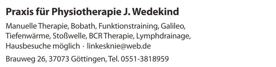 Praxis für Physiotherapie J. Wedekind