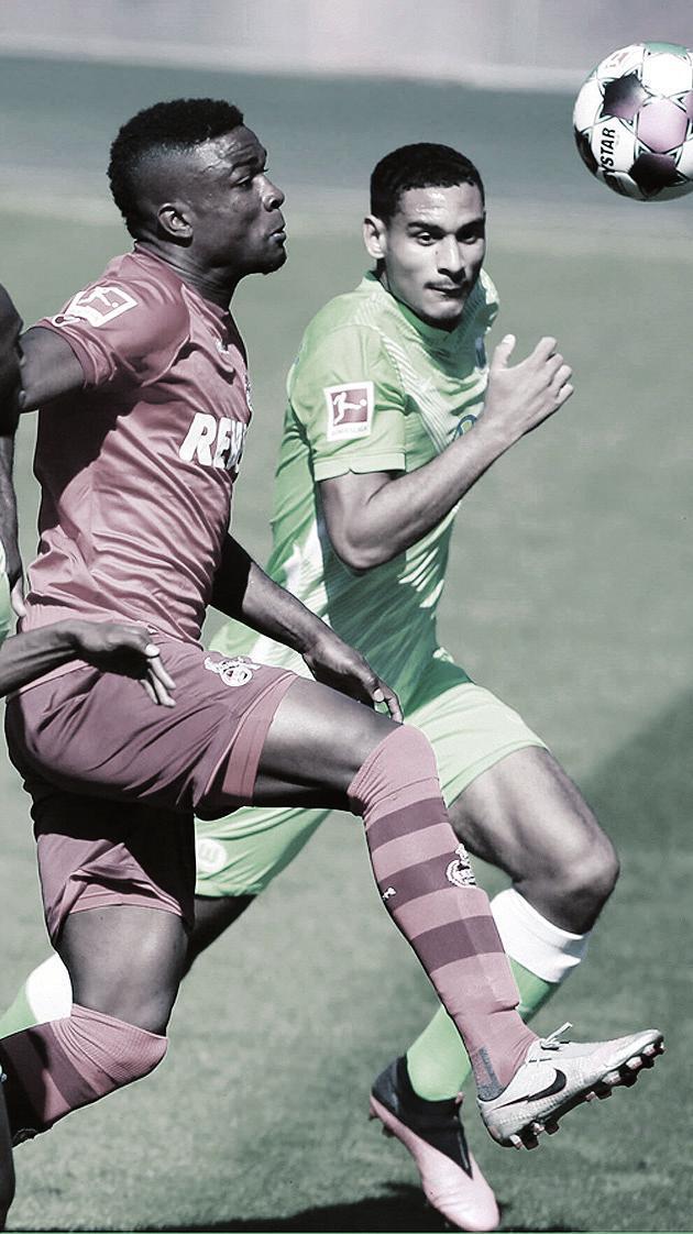 Den 10. Spieltag hat der VfL schon einmal geübt: Drei Wochen vorm Saisonstart gab es für Wolfsburg (r. Maxence Lacroix) einen 3:0-Testspielsieg beim 1. FC Köln (l. Jhon Cordoba).