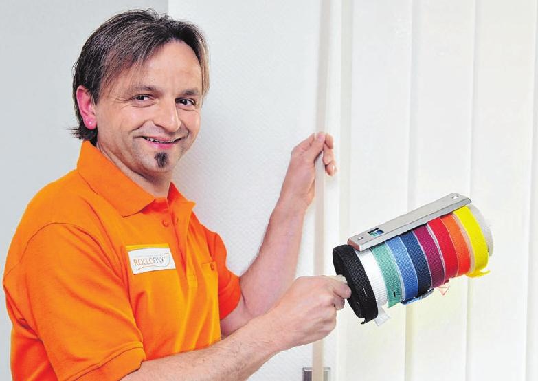 Zoran Ignjatic bietet mit seiner Firma Rollofixx Rolladengurte in elf Farben und Abdeckungen in fünf Farben. Fotos: Jürgen Emmenlauer