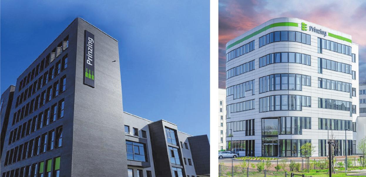 Die Firmengruppe expandiert: Die beiden neuen Firmengebäude in Eislingen (links) und in Frankfurt (rechts).
