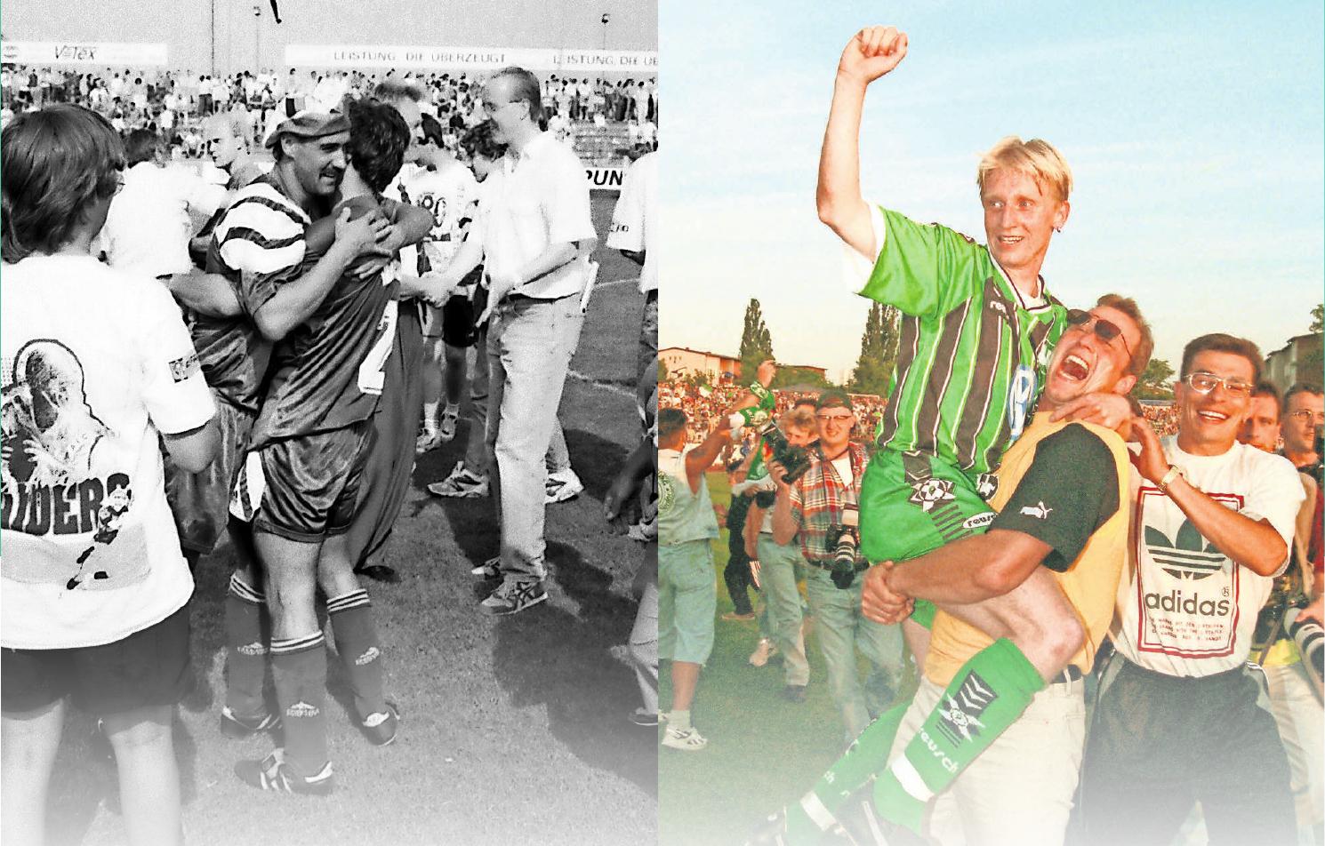 Fußball-Wolfsburg feiert seine Aufstiege: Links 1992 den Sprung in die 2. Liga (mit Mütze Uwe Otto), rechts den Bundesliga-Aufstieg 1997 mit Roy Präger. Fotos: Imago Images Rust/06548459 Boris Baschin
