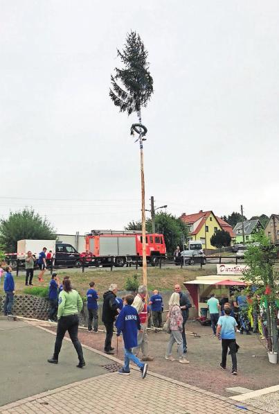 Der Kirmesbaum wird in diesem Jahr gemeinsam mit Pfarrer Oertel geschmückt. Foto: Verein