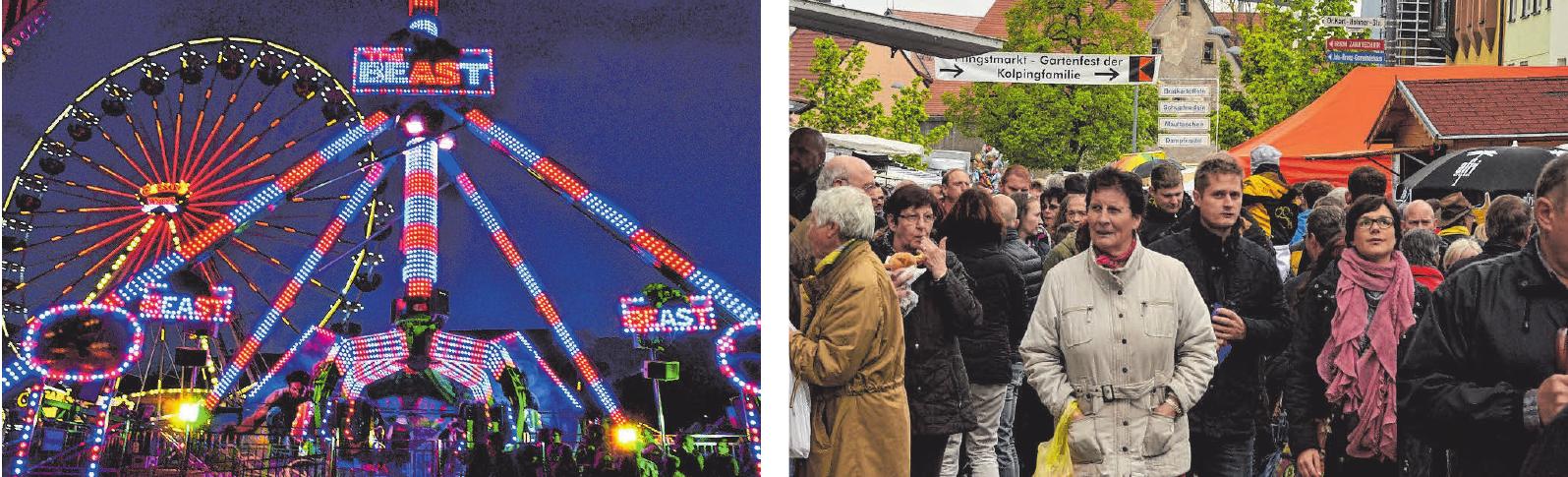 Spektakuläre Fahrgeschäfte beleben den Rummel - und am Pfingstmontag findet der eigentlich Anlass des Events, der Krämermarkt, statt.