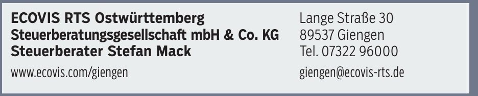 Ecovis Rts Ostwürttemberg Steuerberatungsgesellschaft Mbh & Co. Kg