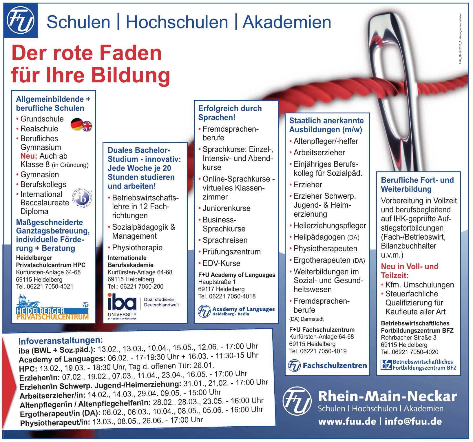 Rhein-Main-Neckar Schulen, Hochschulen, Akademien