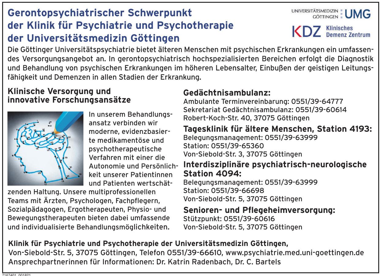 Klinik für Psychiatrie und Psychotherapie der Universitätsmedizin Göttingen