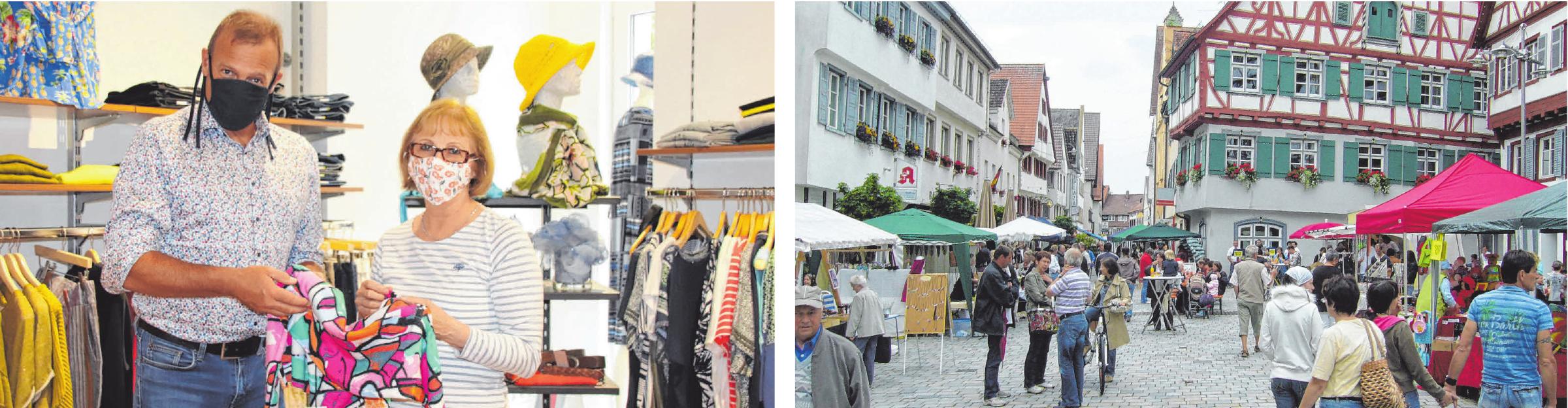 Tobias Strang von TS Mode am Riedlinger Marktplatz — Beim Flanieren in der Riedlinger Altstadt mit Abstand kann man sich auch treffen. FOTOS: MARKUS FALK, ARCHIV