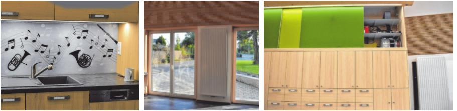"""Bild 2: Die Küchenzeile wurde sehr ansprechend """"musikalisch"""" gestaltet. Bild 3: Die großen Fenster- Türen machen den Raum hell und freundlich. Bild 4: Notenschrank mit Stauraum und Akustikelementen."""