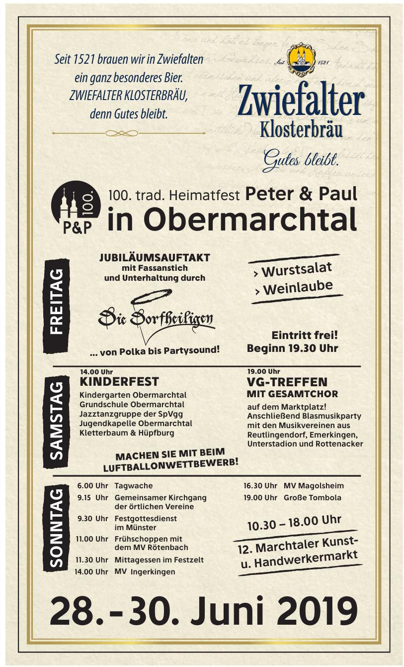 100. trad. Heimatfest Peter & Paul in Obermarchtal
