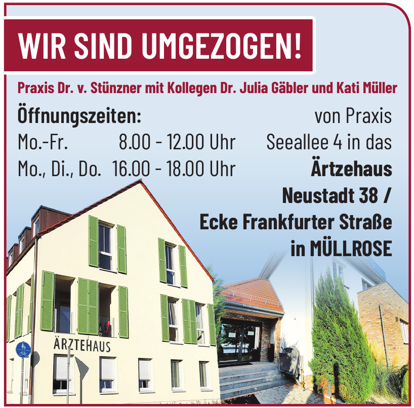 Ärztehaus Praxis Dr. v. Stünzner mit Kollegen Dr. Julia Gäbler und Kati Müller