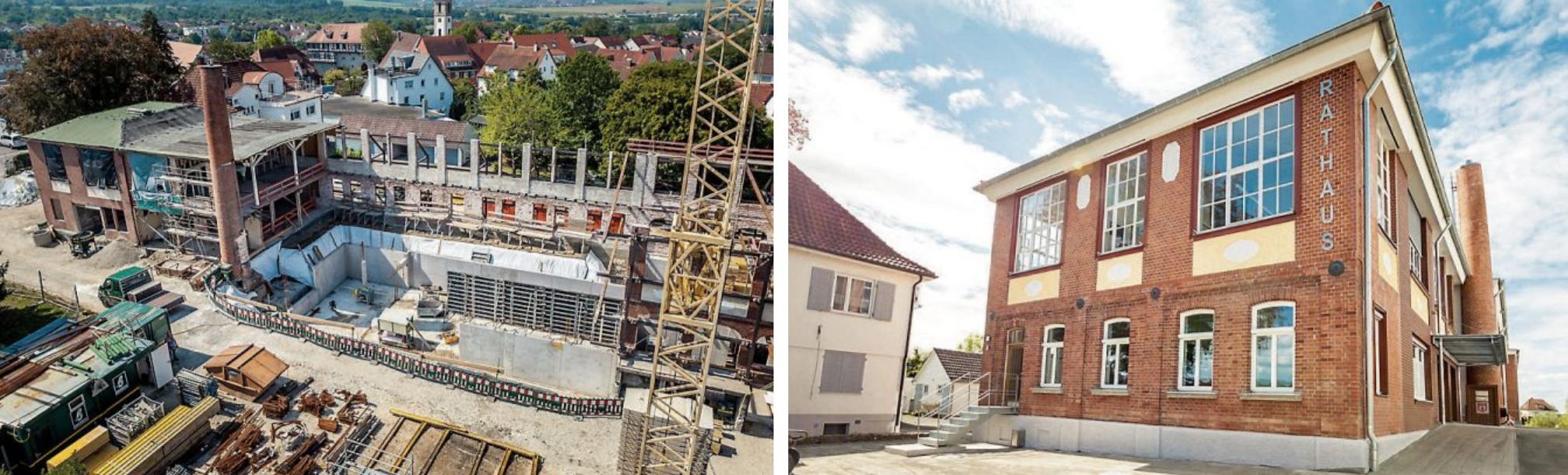 Im Bild links ist der vollständig entkernte Mittelteil der Kindlerschen Fabrik zu sehen. Rechts das neue Rathaus von Gomaringen. Bilder: Angela Hammer/Gemeinde Gomaringen
