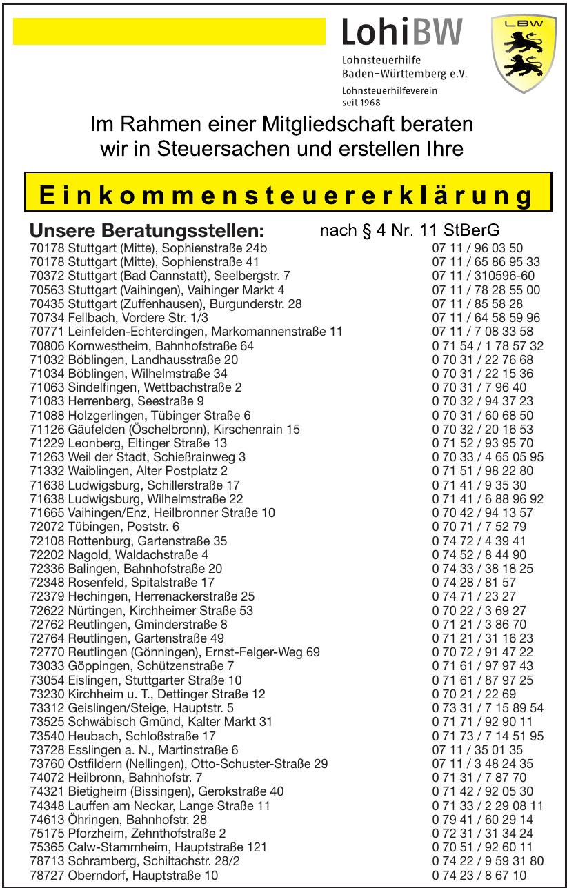 Lohi BW Lohnsteuerhilfe Baden-Württemberg e.V.