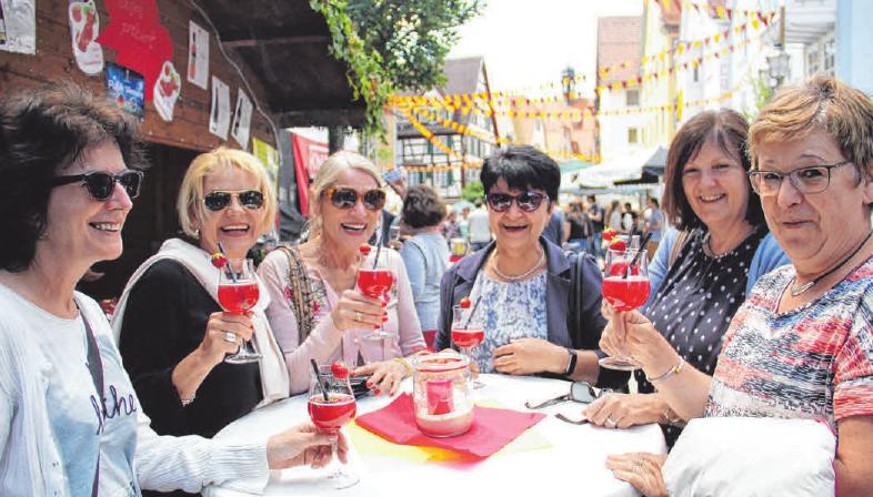 Die Damen hatten beim Stadtfest 2018 viel Spaß. FOTO: PEGG