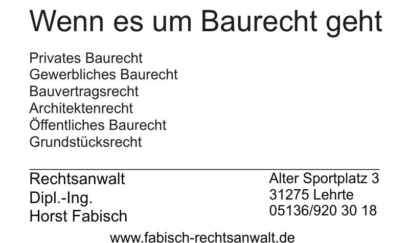 Rechtsanwalt Dipl.-Ing. Horst Fabisch