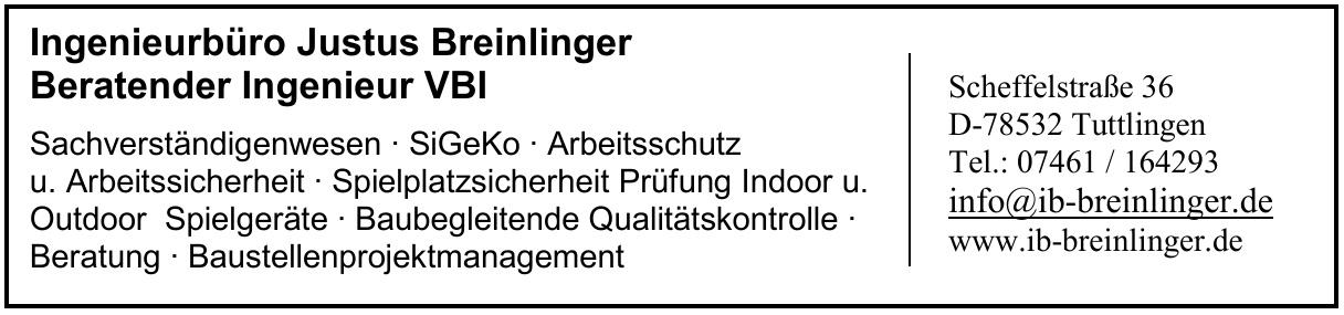 Ingenieurbüro Justus Breinlinger Beratender Ingenieur VBI