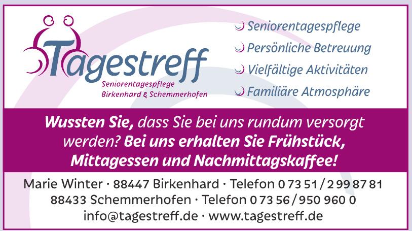 Tagestreff – Seniorentagespflege – Birkenhard und Schemmerhofen