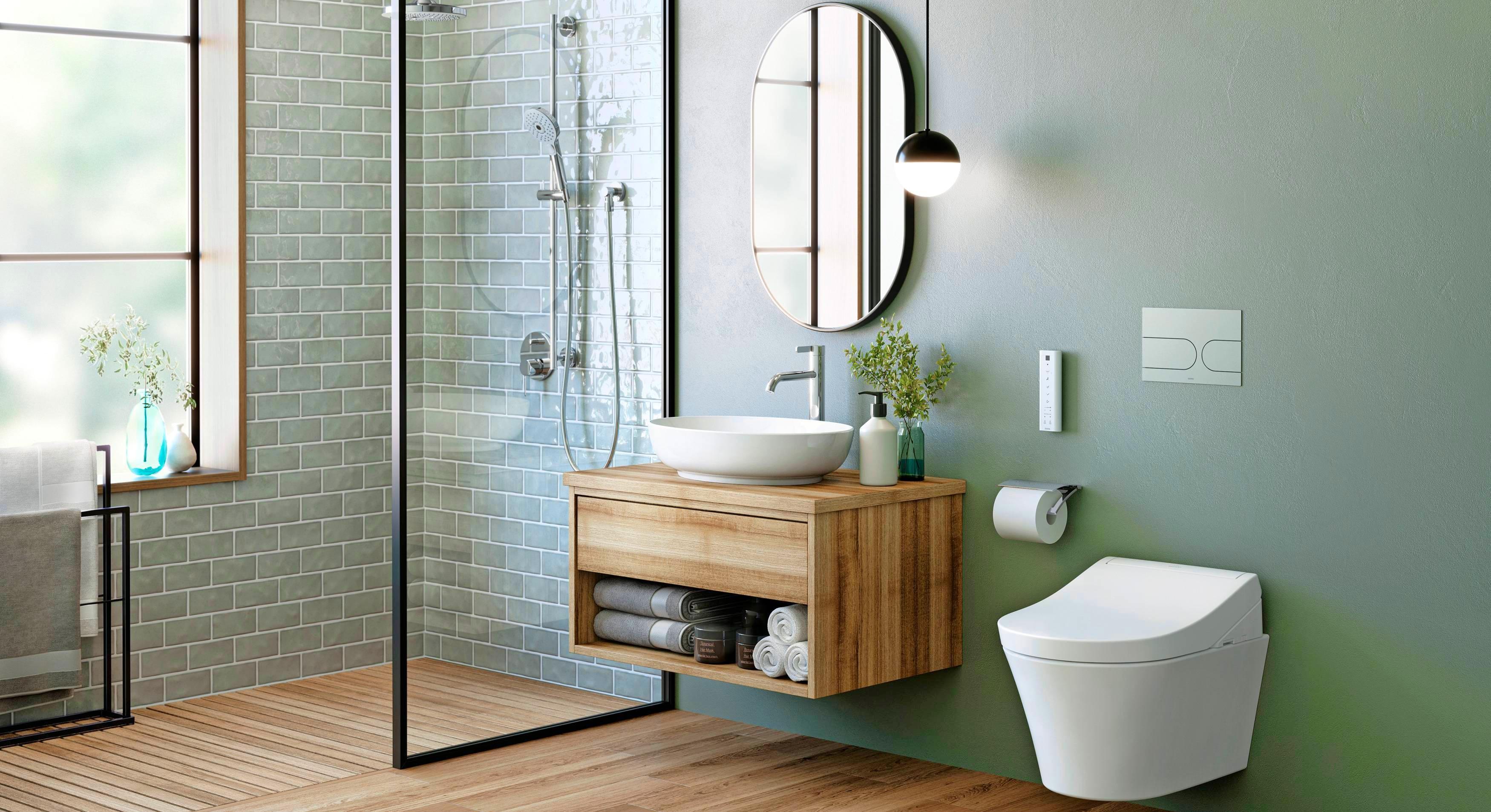 Trotz der neuen Farbigkeit im Badezimmer bleiben viele Keramiken weiß – zum Beispiel die Toilettenschüssel. Foto: Toto