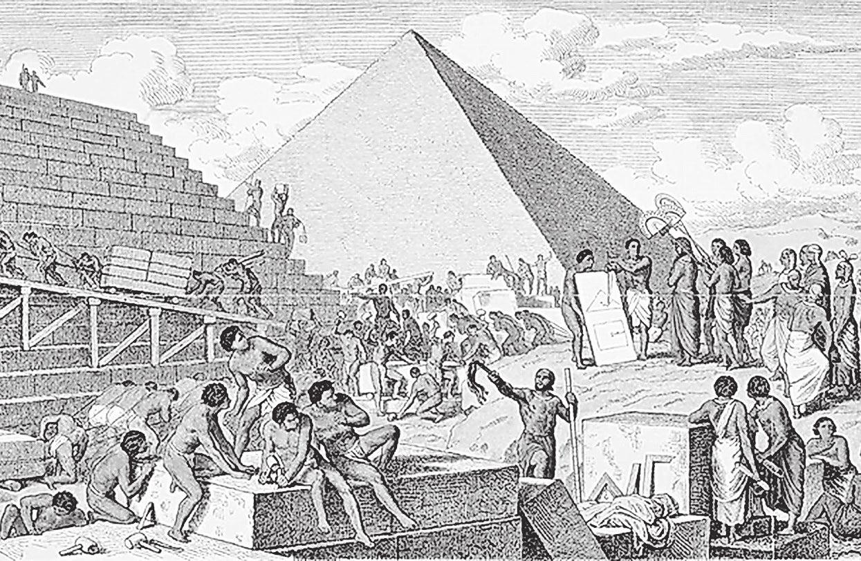 Der Bau der Cheops-Pyramide soll weit über 100 000 Arbeiter beschäftigt und rund 20 Jahre lang gedauert haben. Bild: alamystock
