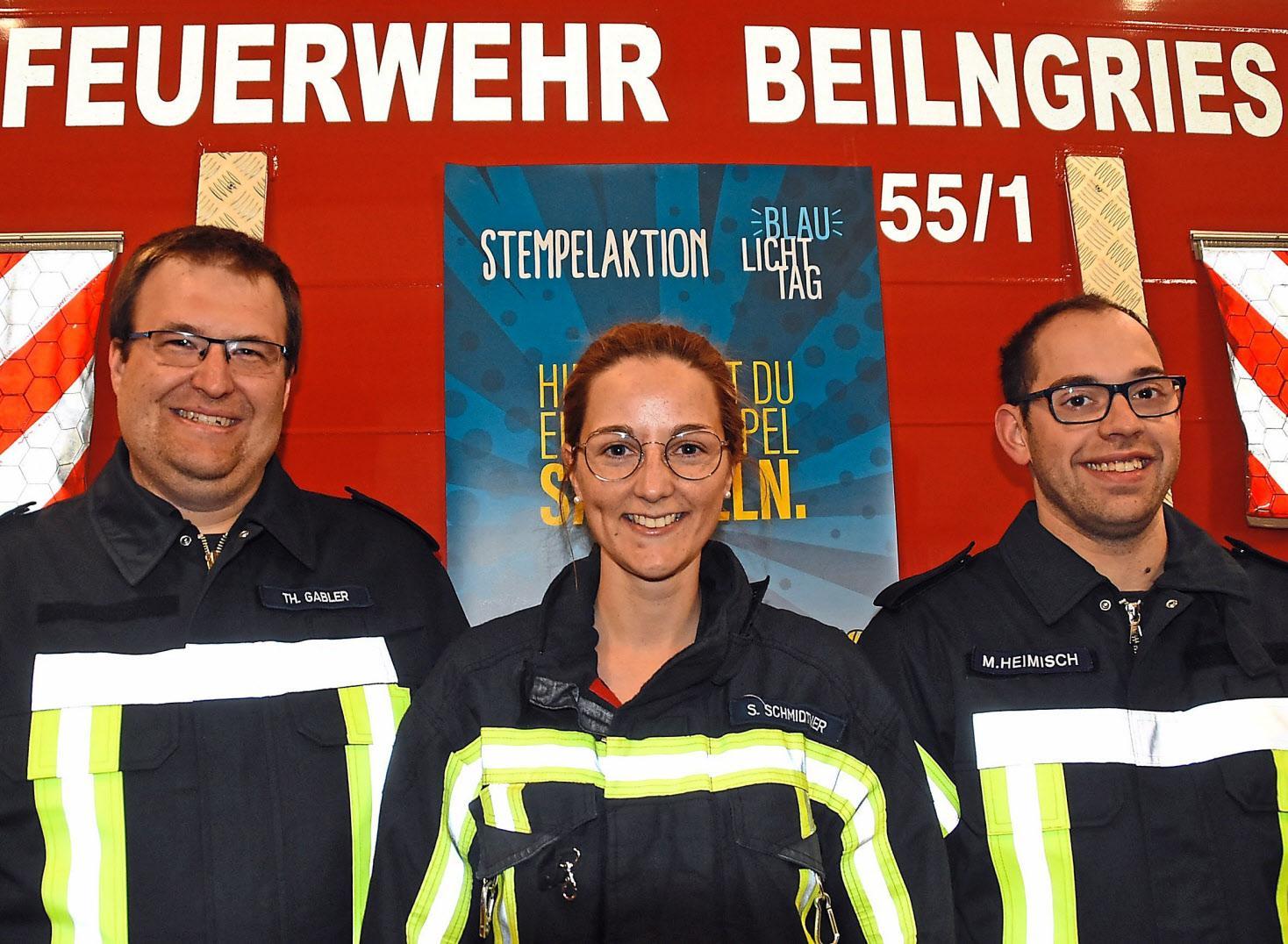 Hinter dem Blaulichttag steht ein engagiertes Organisationsteam: Thomas Gabler (von links), Steffi Schmidtner und Martin Heimisch. Fotos: Nusko
