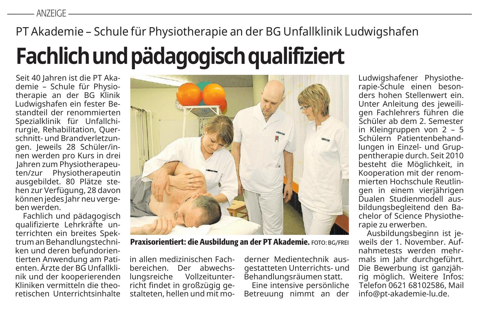 PT Akademie – Schule für Physiotherapie an der BG Unfallklinik Ludwigshafen